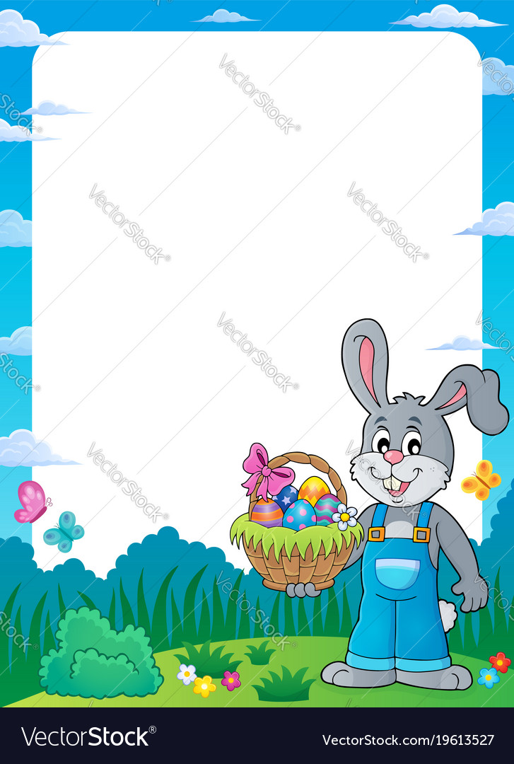 Frame with bunny holding easter basket Royalty Free Vector