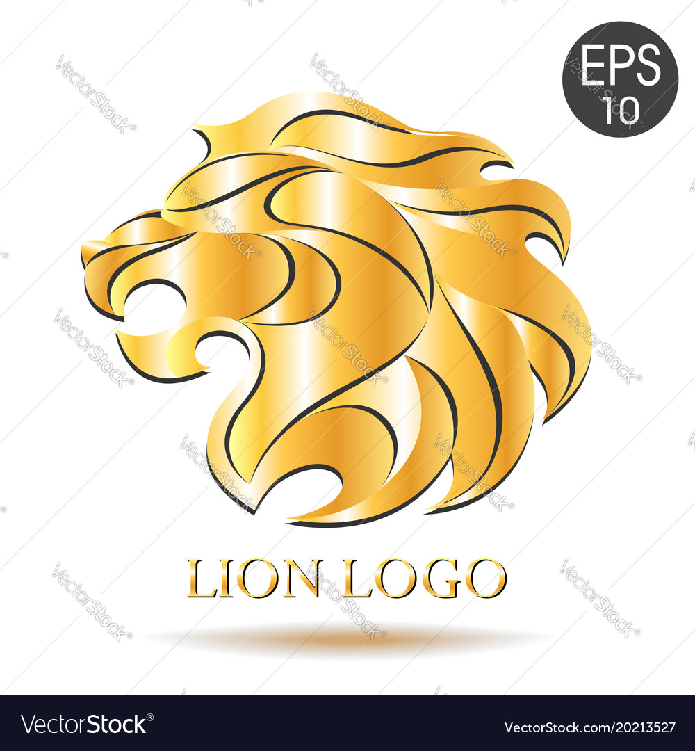 Golden lion logo of lion