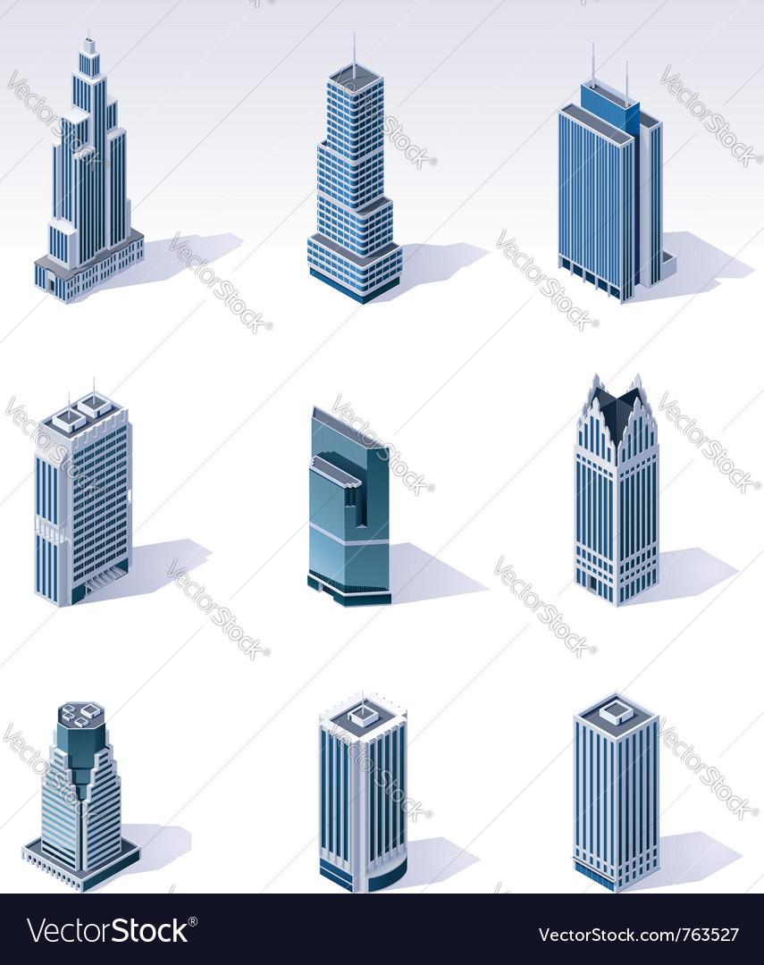 Isometric buildings skyscrapers