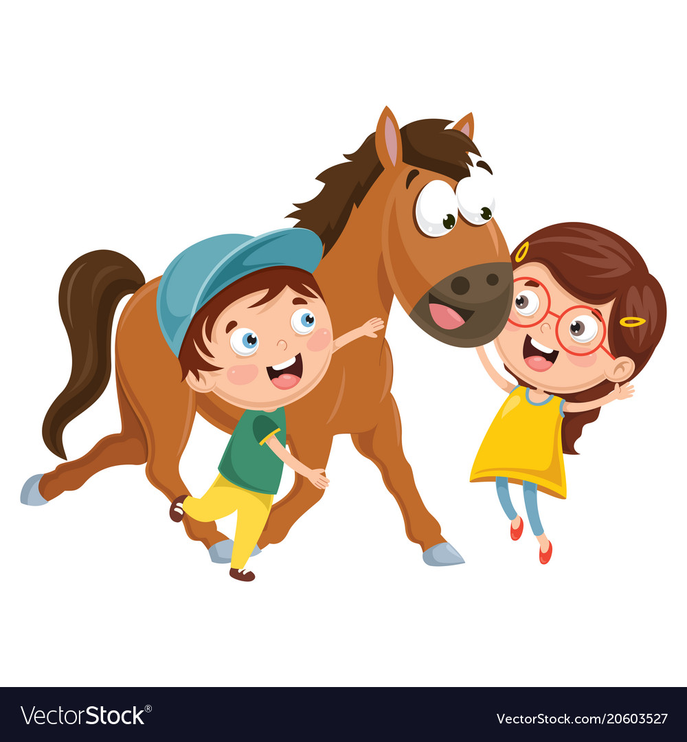 Kids With Horse Royalty Free Vector Image Vectorstock