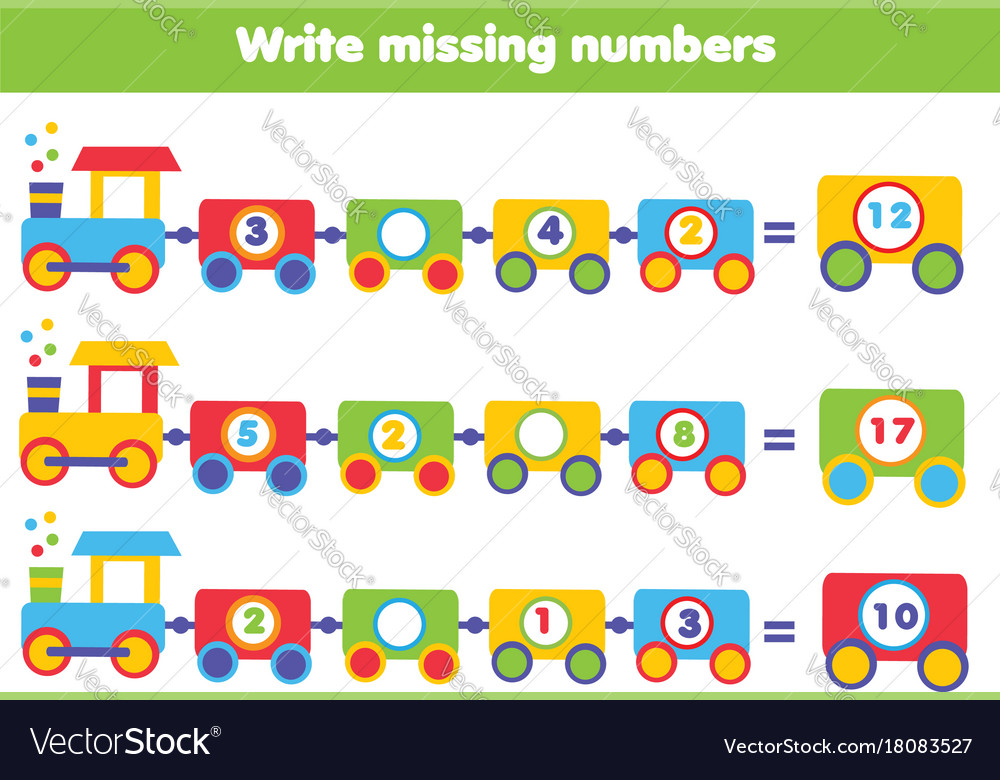 Mathematics educational game for children write Vector Image