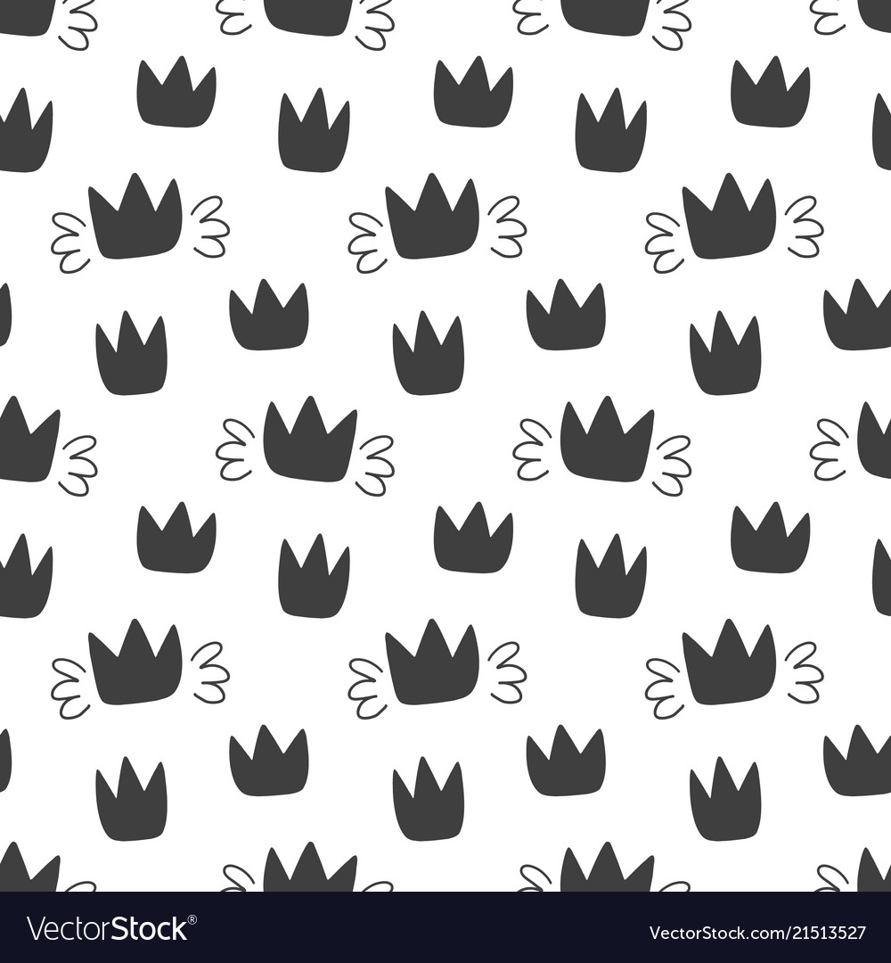 Seamless pattern with hand drawn crowns isolated