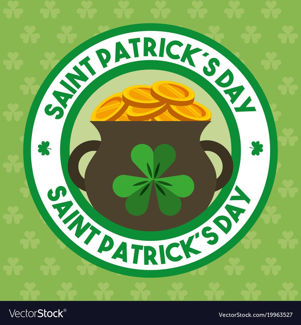 St Patricks Day Badge With Cauldron Gold Coins Vector Image