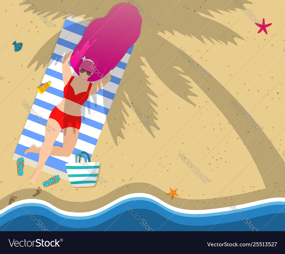 Woman relaxing on beach leisure tan sparetime