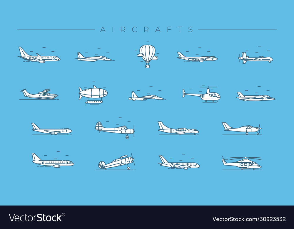 Aircrafts concept line style icons set