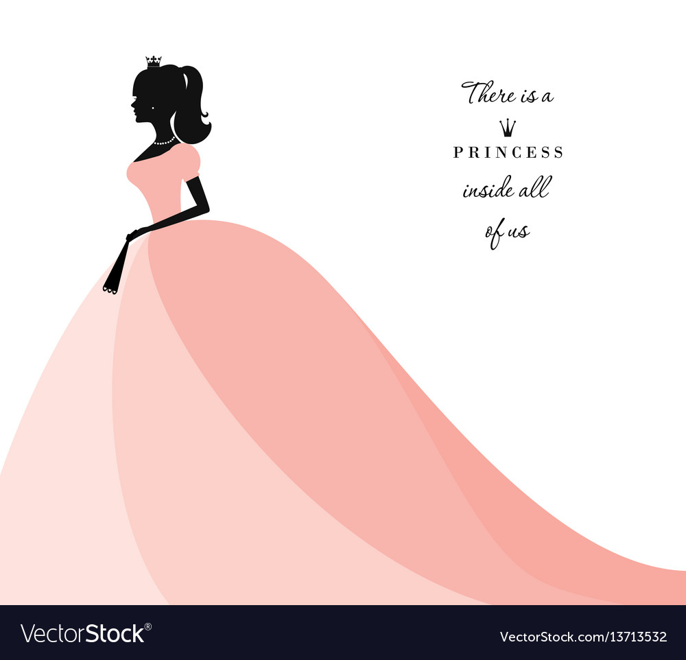 Beautiful princess silhouette in pastel pink dress