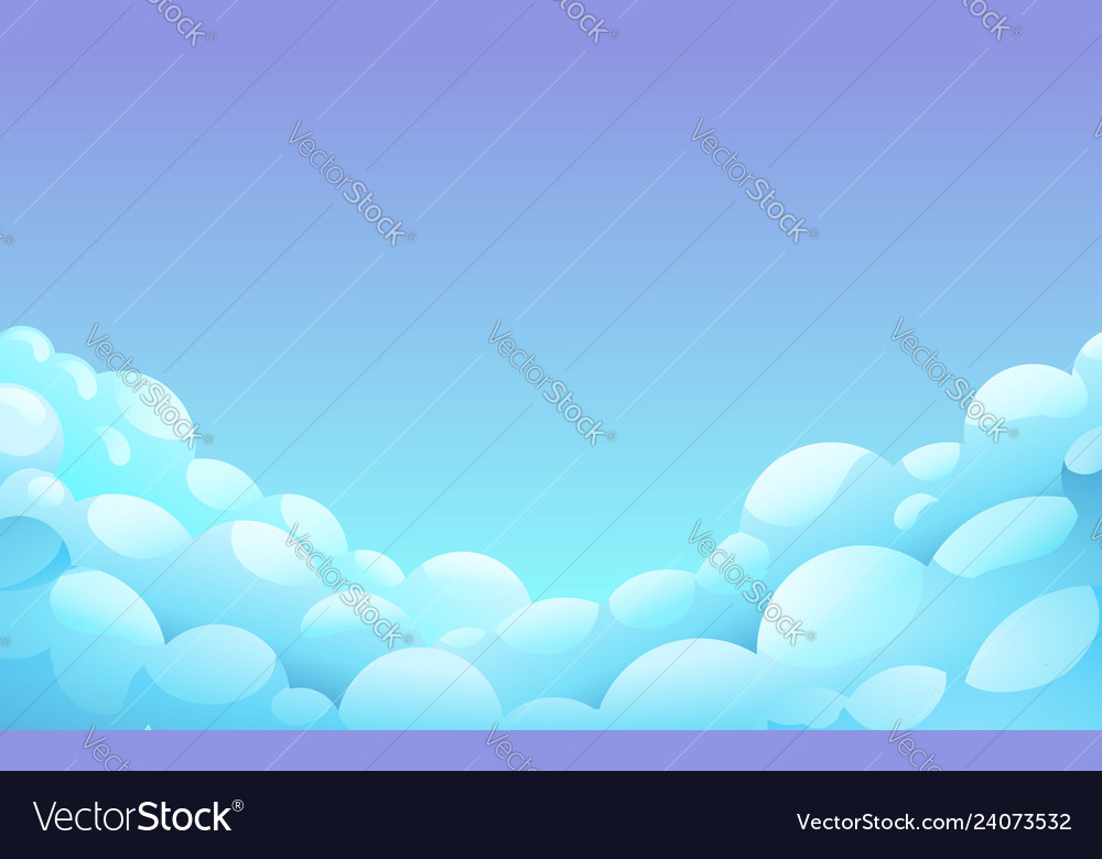 Blue night sky with white fluffy clouds