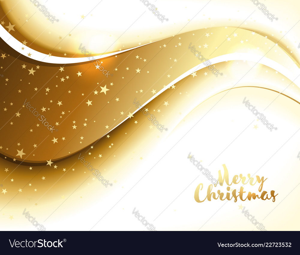 Christmas decor with golden wave and stars