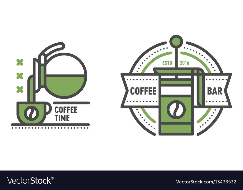 Coffee badge logo food design thin line lettering