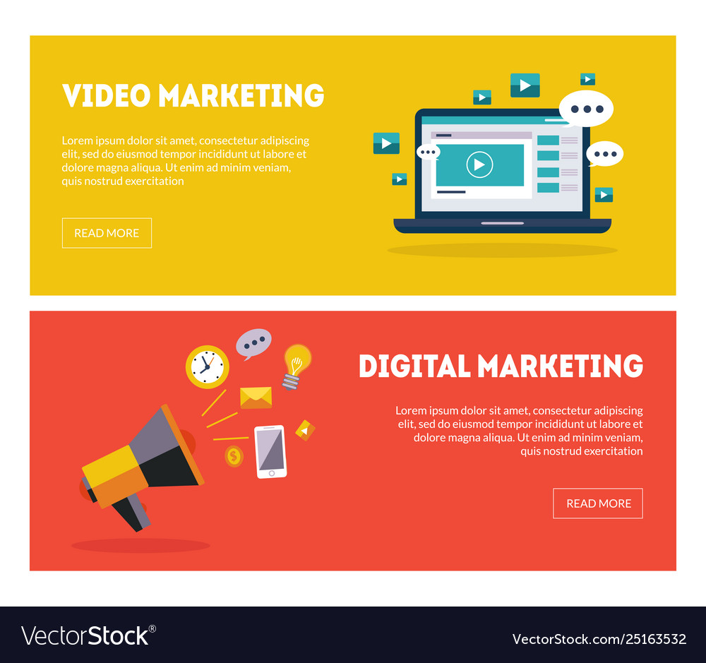 Digital marketing banners set business strategy
