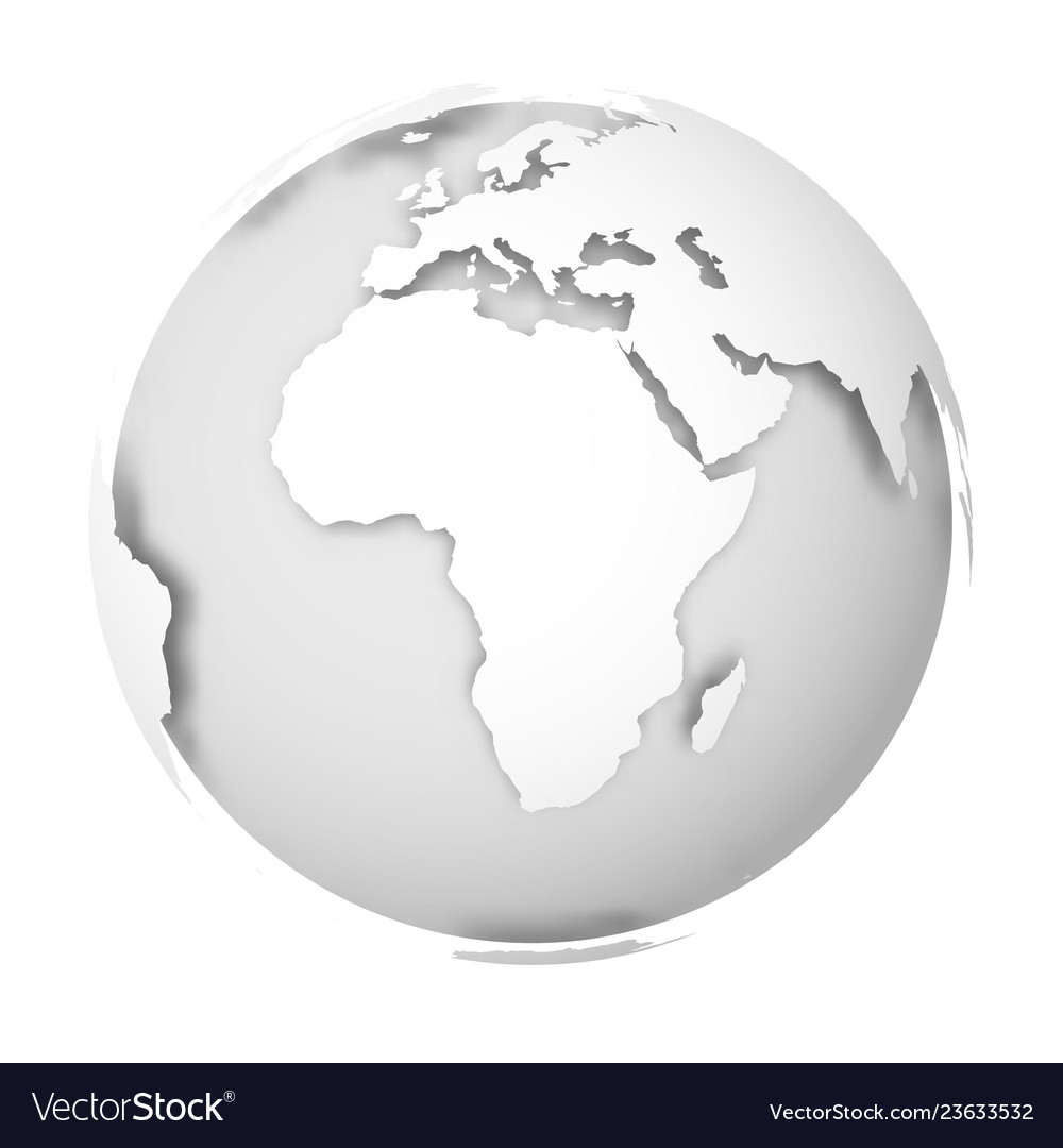 Earth Globe 3d World Map With White Lands Vector Image