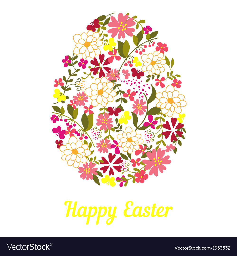 Easter egg from flowers with a text