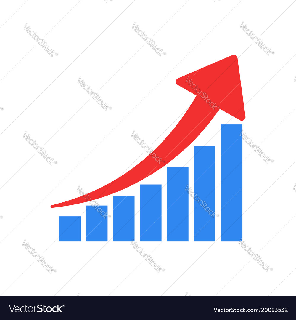 Growth chart icon grow diagram flat business