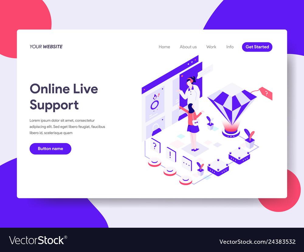 Landing page template of online live support