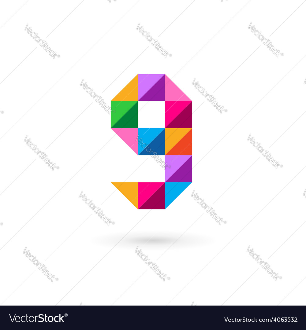 Letter G number 9 mosaic logo icon design template vector image