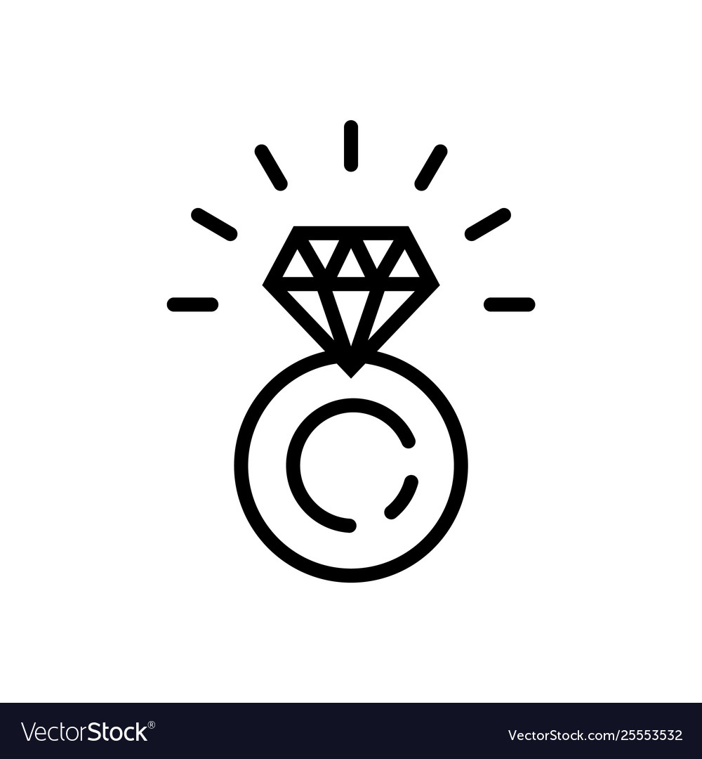 Ring with diamond icon in line style symbol