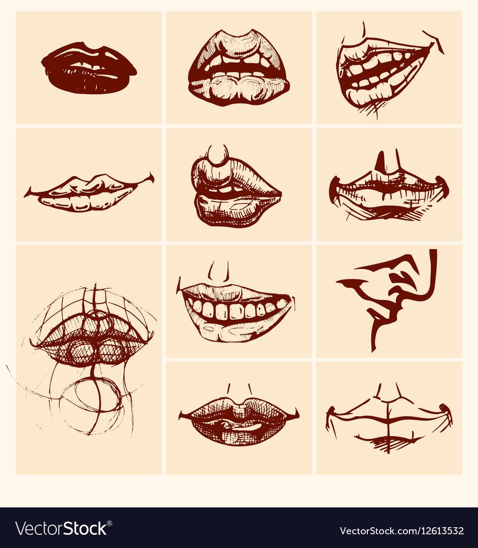 Set of sexy woman lips