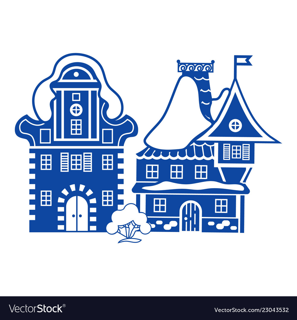 Small Village House Icon Simple Style