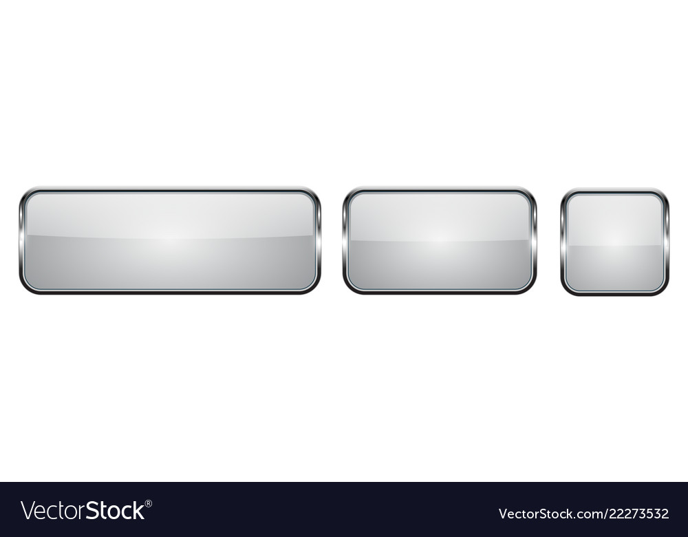 White glass buttons with chrome frame 3d square