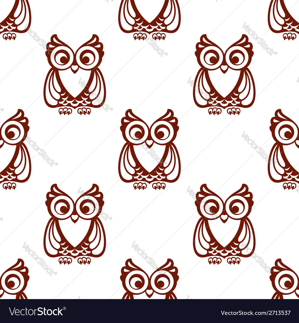 Cartoon brown owl seamless pattern