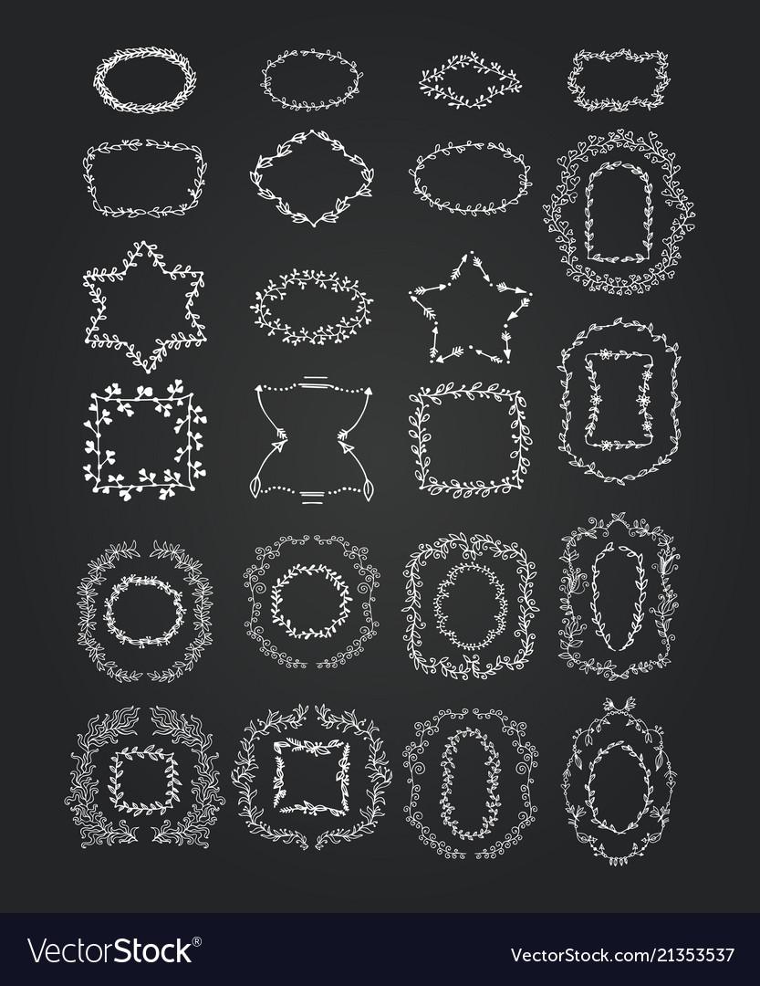 Chalkboard doodle branches frames set wreath