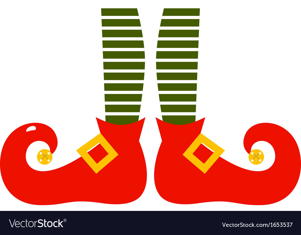 Christmas cartoon elvish legs isolated on white vector image