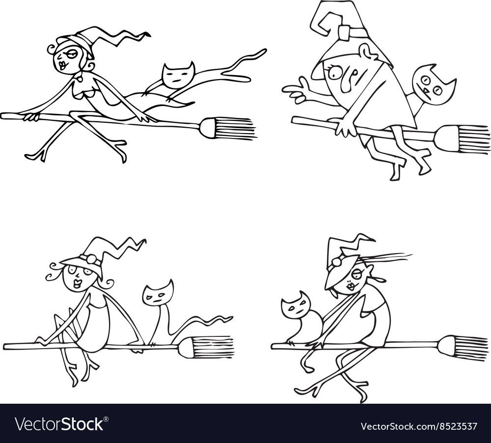 Halloween Witches pack vector image