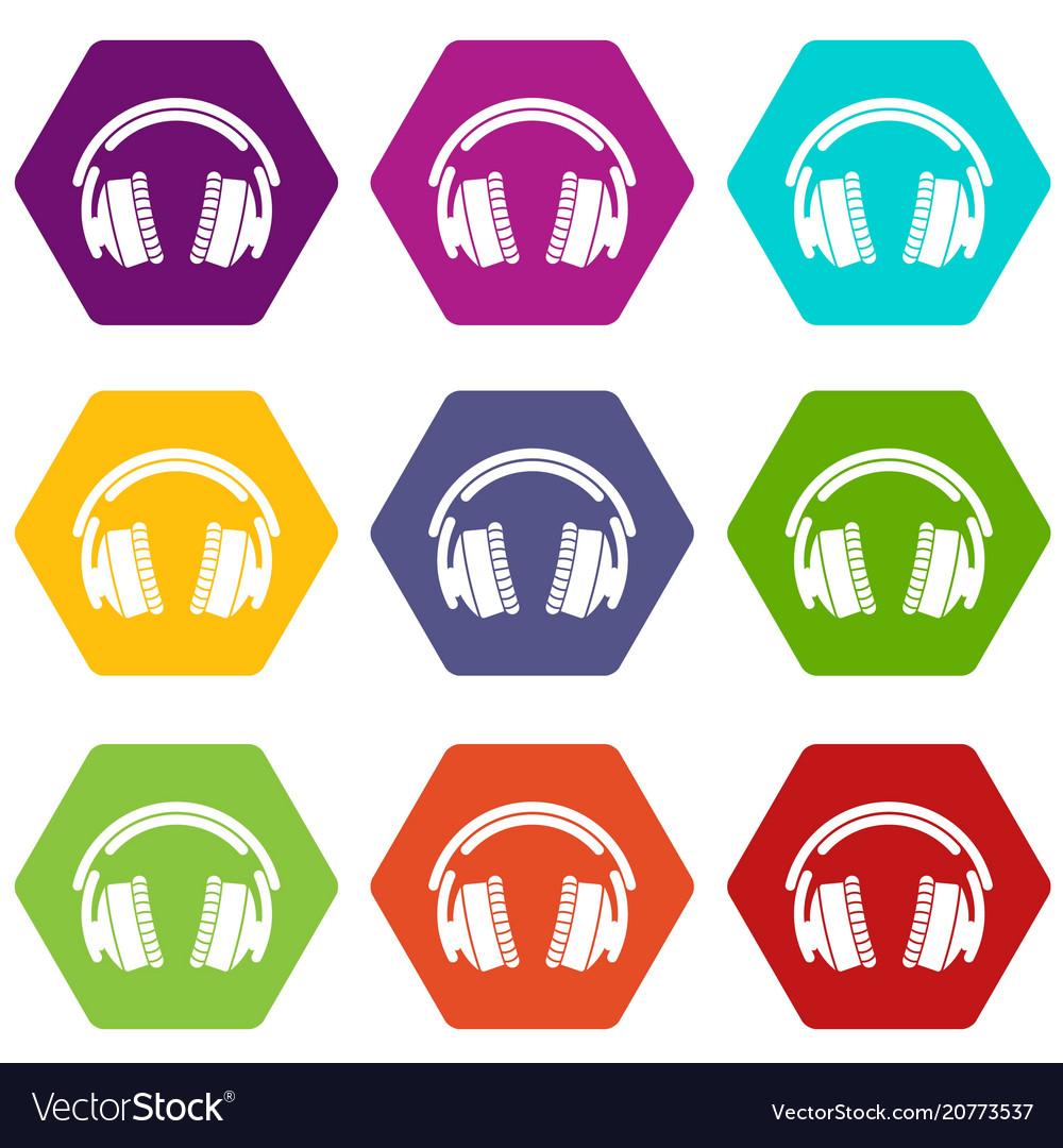 Headphones icons set 9