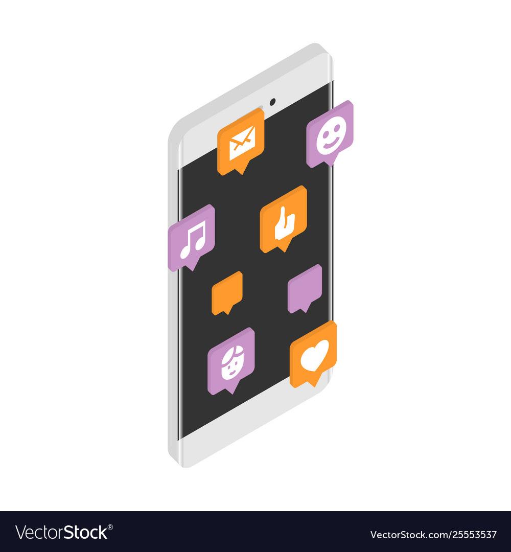 Modern smartphone with cloud social media vector