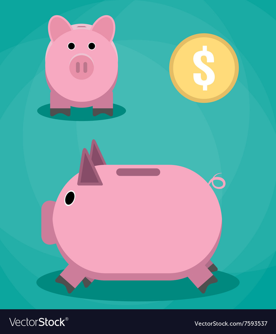 Piggy bank and coin vector image