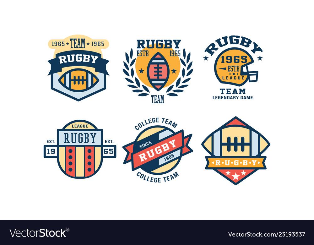 Rugby league logo design set vintage college team