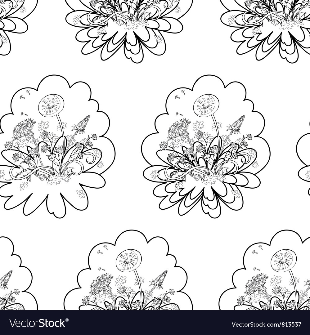 Seamless floral background contours