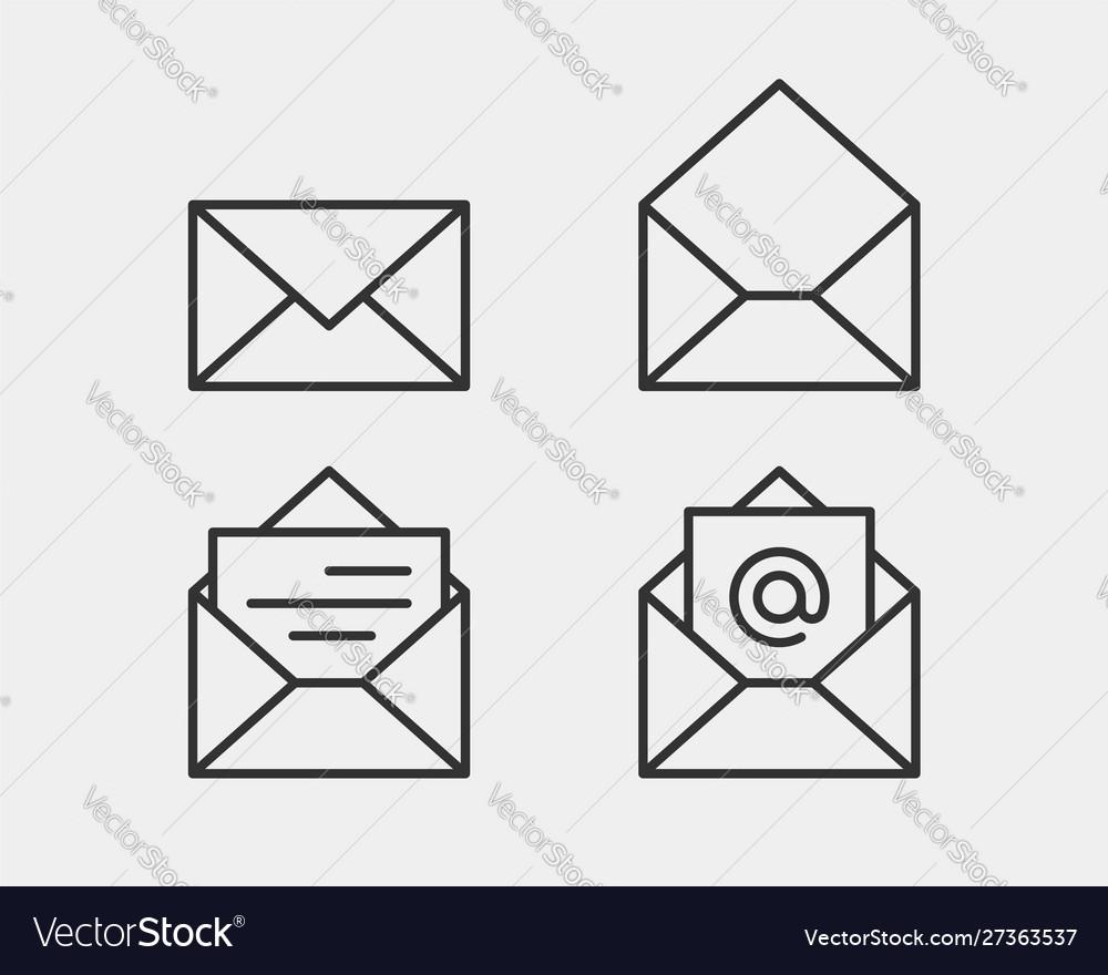 Set envelop icons letter envelope icon template