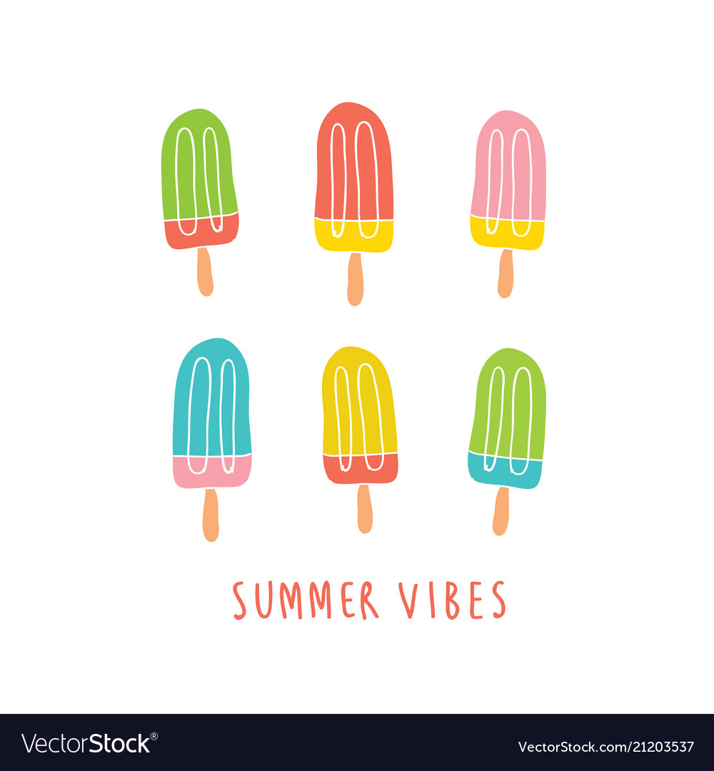 Set of colorful ice creams isolated