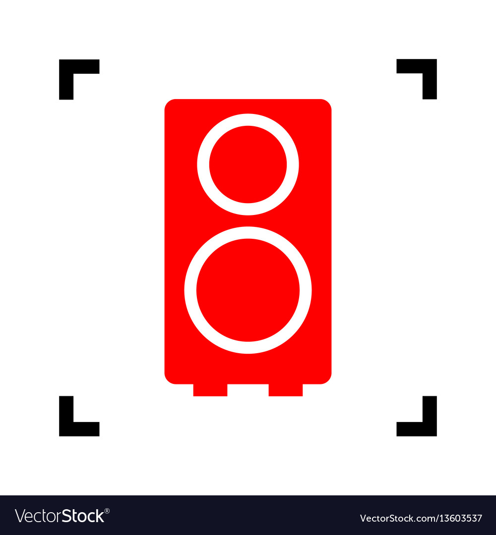 Speaker sign red icon inside vector image