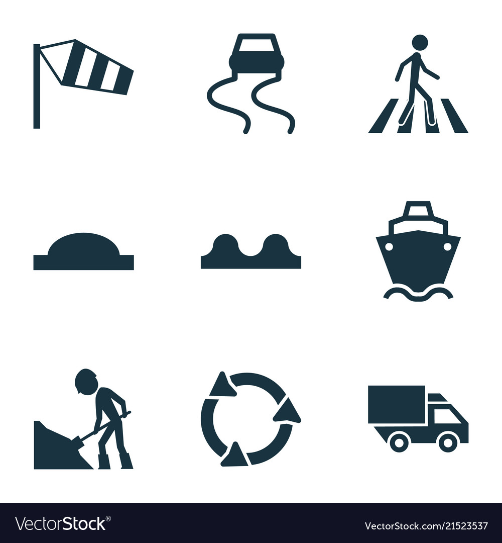 Transport icons set with side wind road work