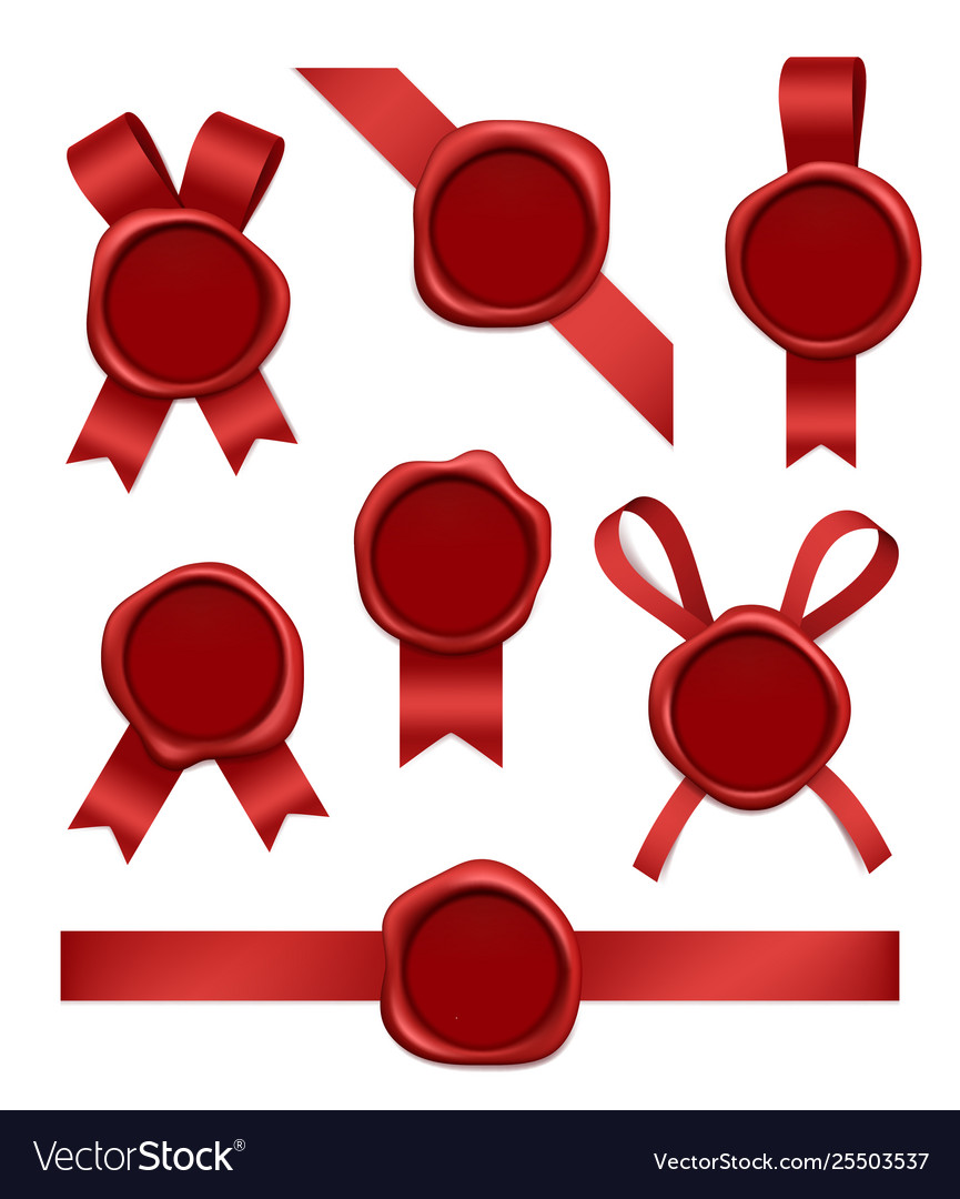 Wax stamp and ribbons sealed red rubber postal