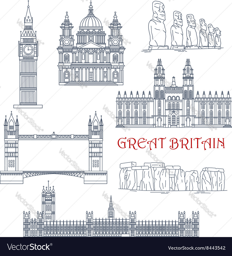 Attractions of Great Britain and Chile linear icon