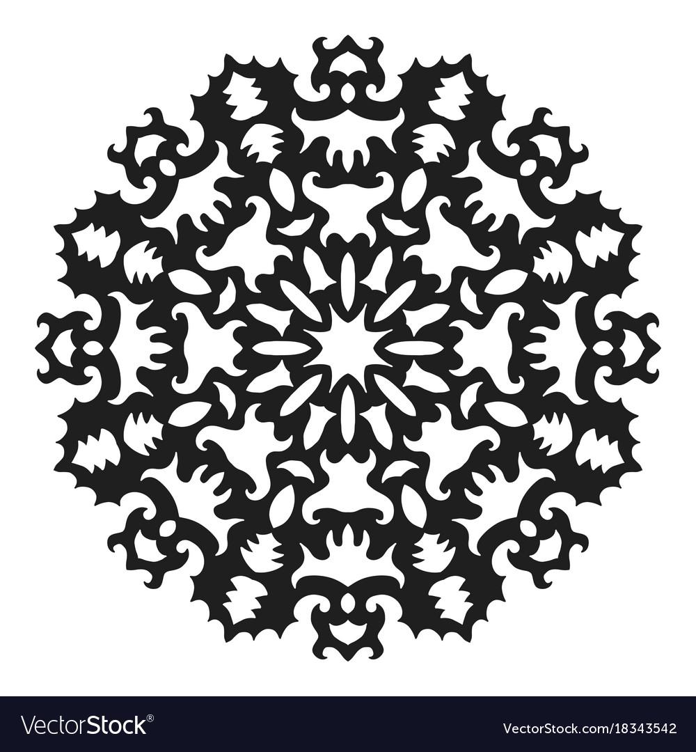 black silhouette of a snowflake lace round vector image rh vectorstock com Snowflake Vector Black Single Snowflake Vector