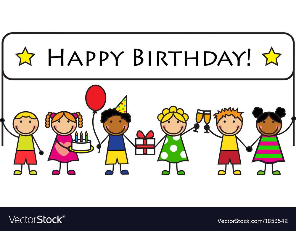Cartoon kids with a banner birthday