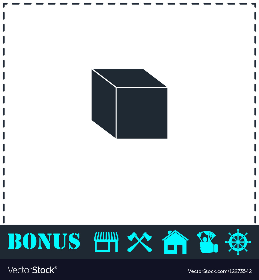 Cube icon flat