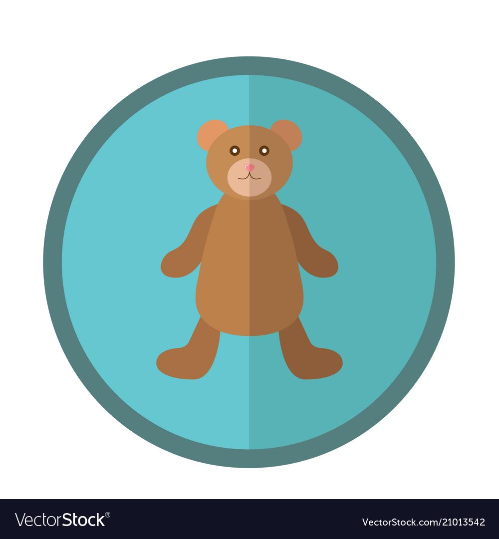 Cute round icon with teddy bear
