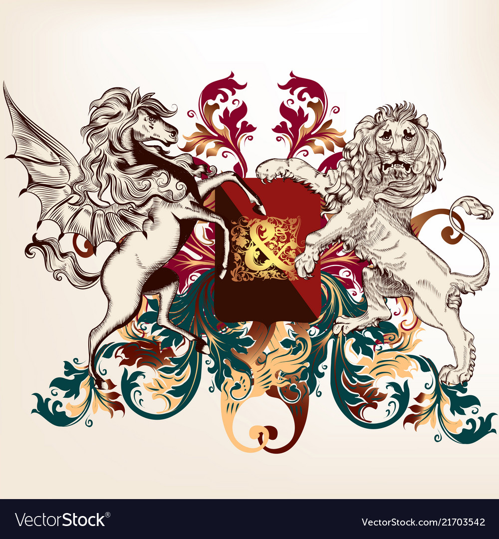 Heraldic design with shield winged horse and lion