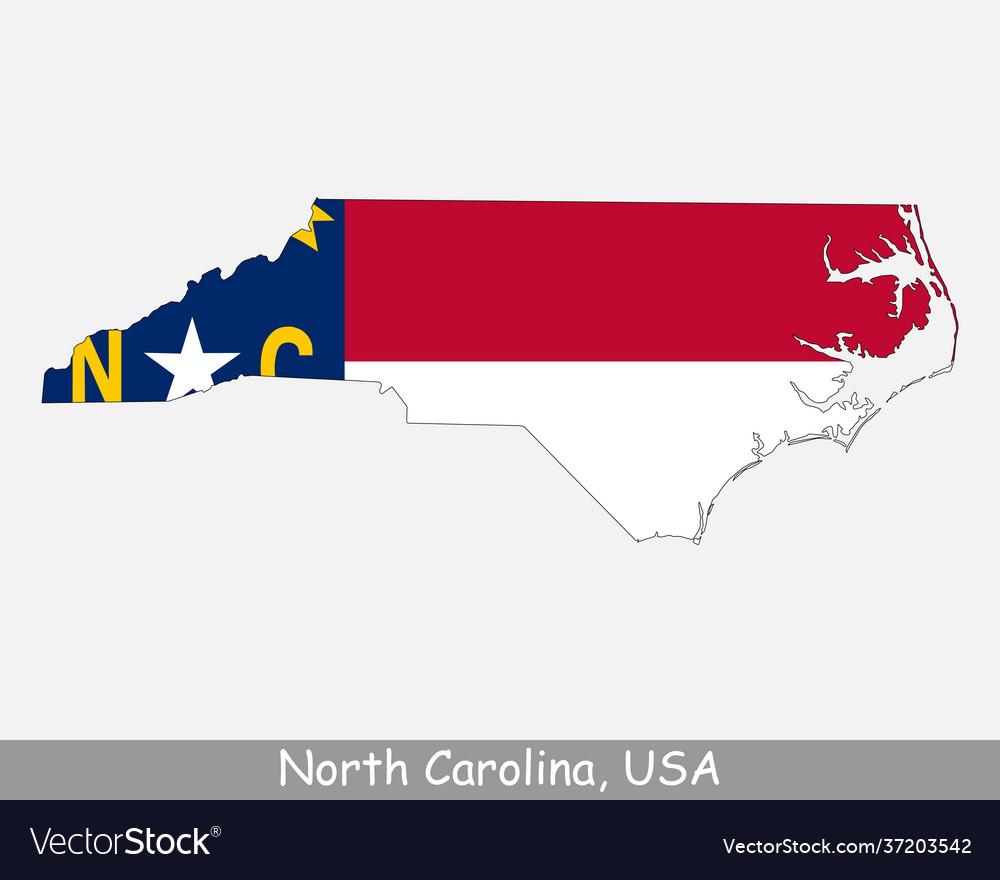 North carolina usa map flag