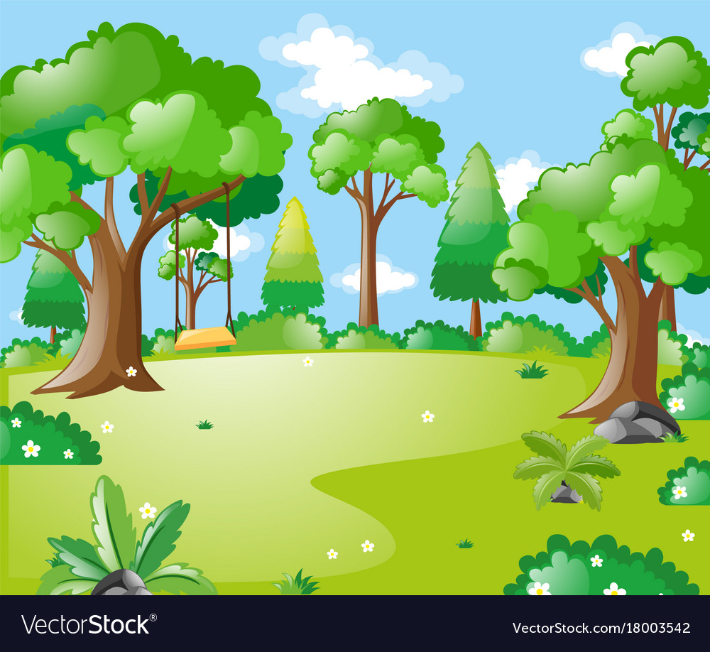 Park scene with many trees and swing