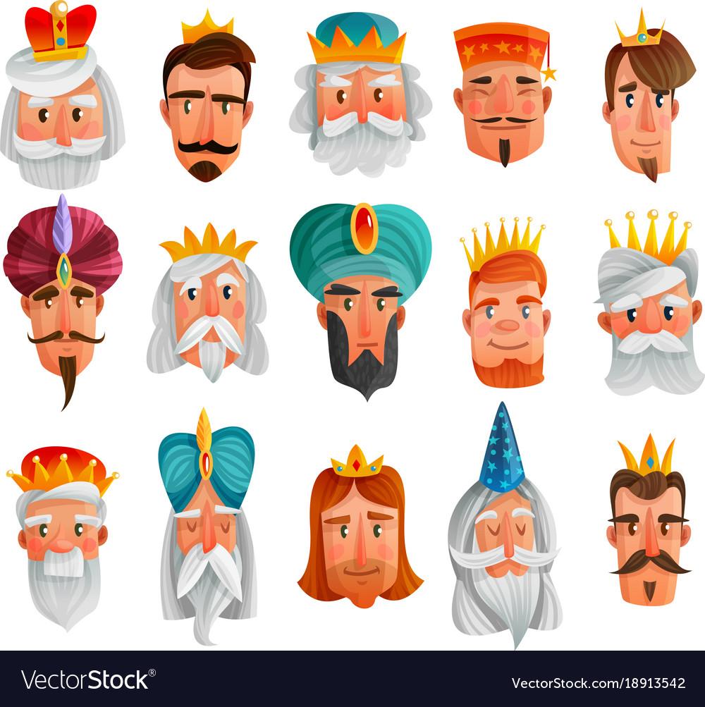 Royal characters cartoon set