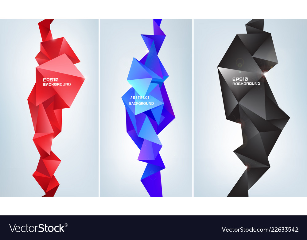 Set of abstract facet 3d shapes geometric