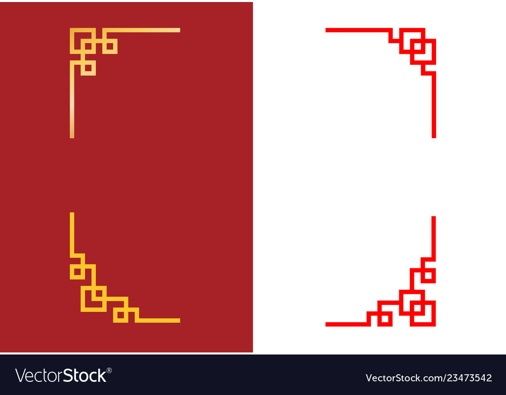 Set of chinese corner in linear style