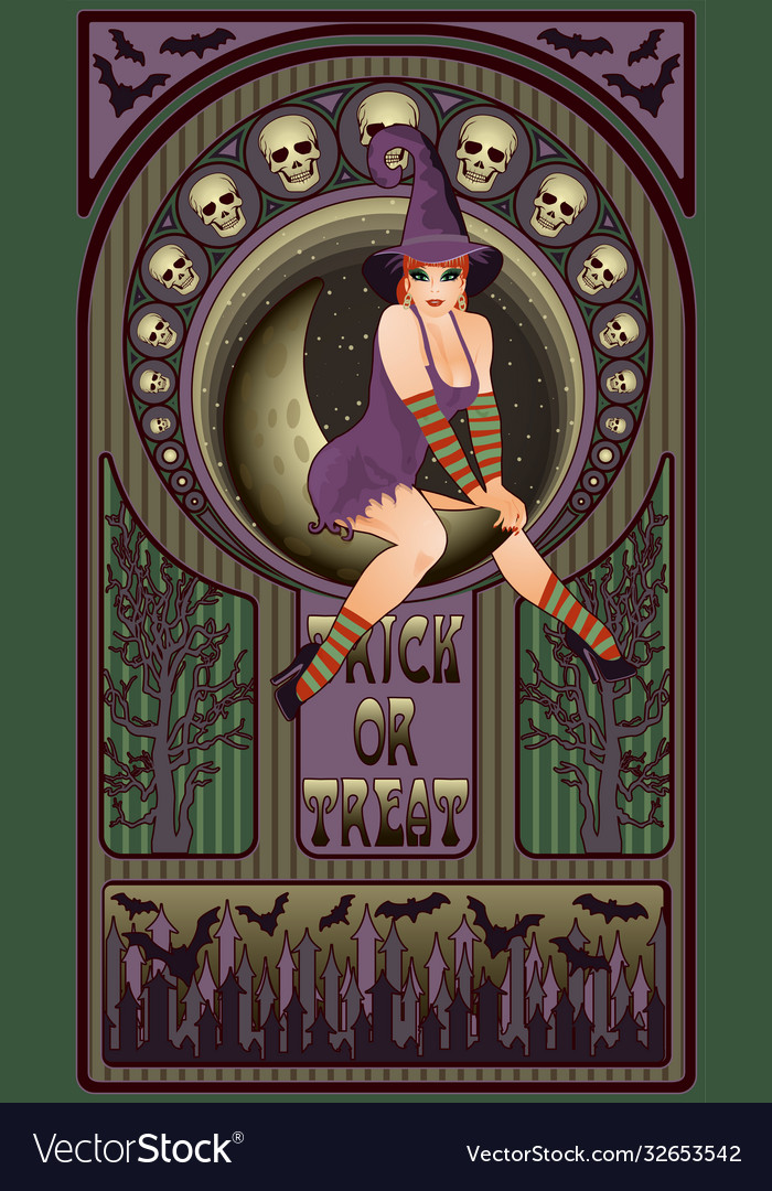 Sexy witch and moon art nouveau greeting card