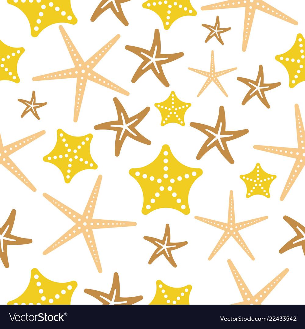 Starfish seamless pattern on white background